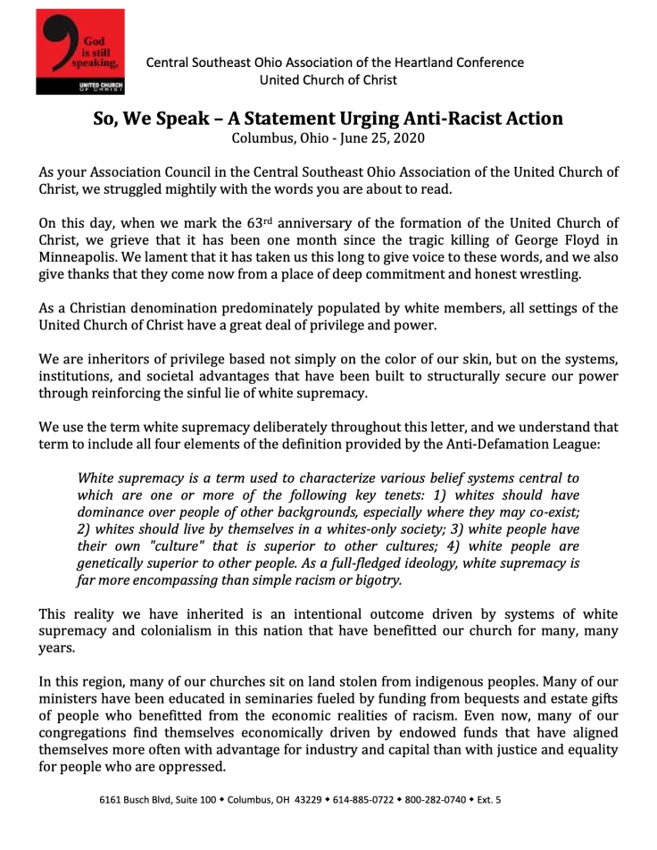 So We Speak - A Statement Urging Anti-Racist Action (Final Draft) CSEOA Association Council-1